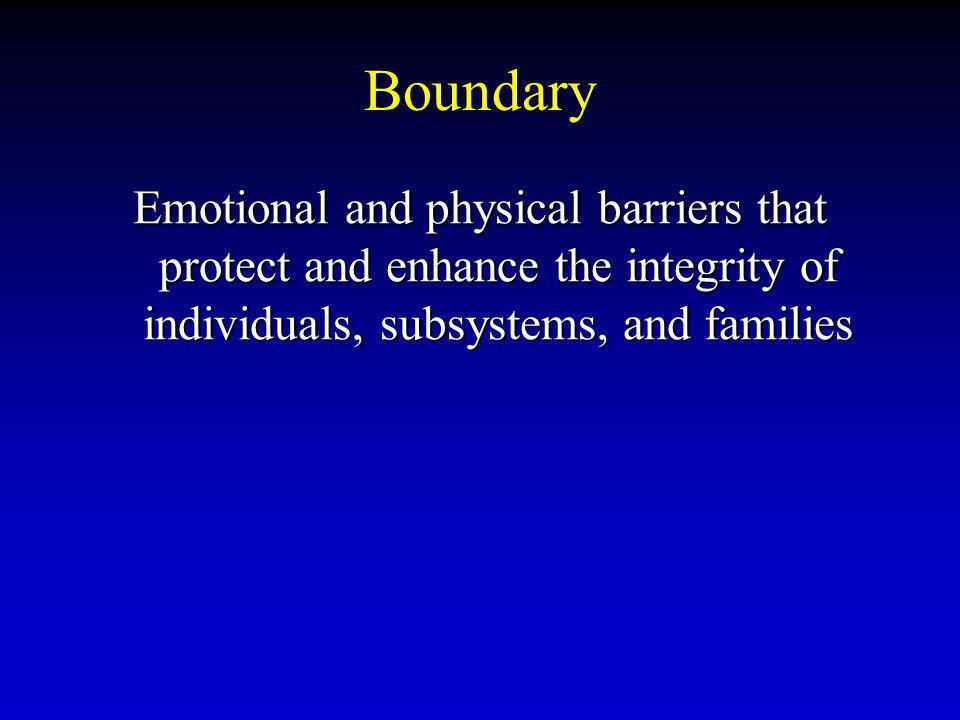 Boundary Emotional and physical barriers that protect and enhance the integrity of individuals, subsystems, and families.