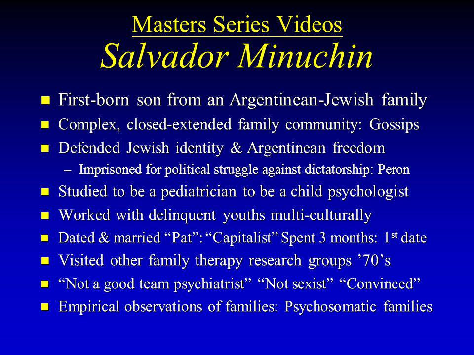 Masters Series Videos Salvador Minuchin
