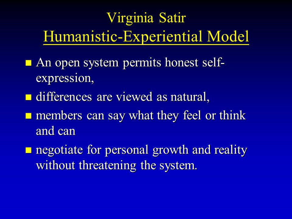 Virginia Satir Humanistic-Experiential Model