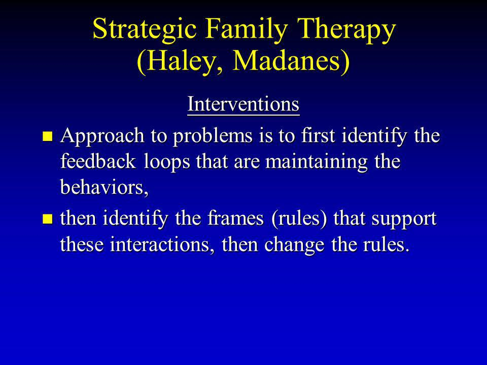 Strategic Family Therapy (Haley, Madanes)