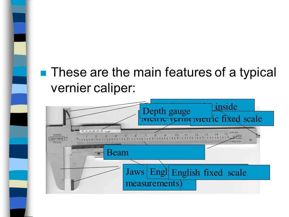 These are the main features of a typical vernier caliper: