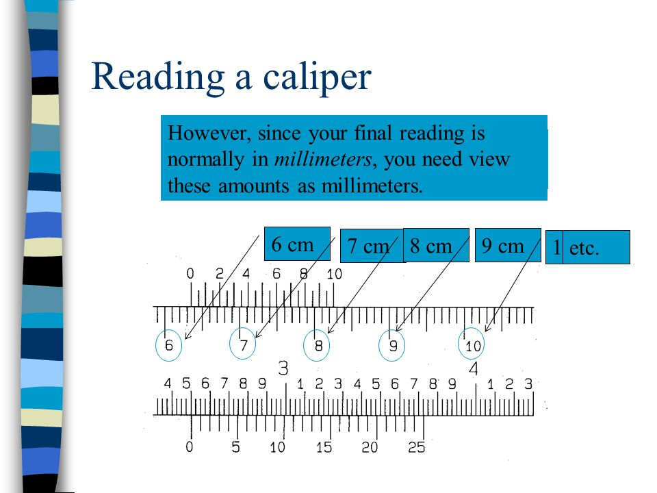 Reading a caliper However, since your final reading is normally in millimeters, you need view these amounts as millimeters.