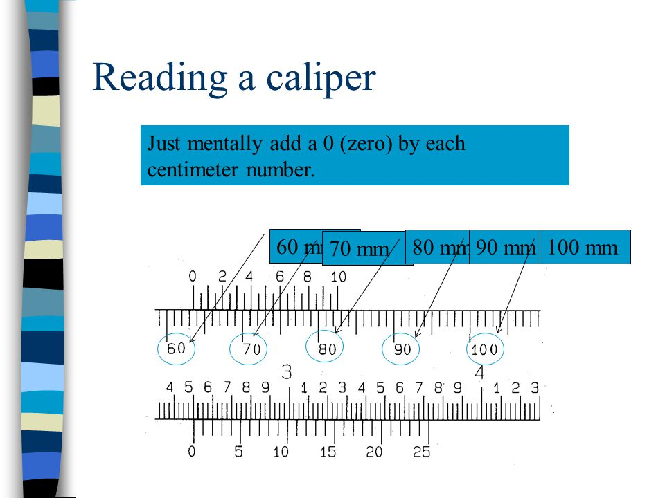 Reading a caliper Just mentally add a 0 (zero) by each centimeter number. 60 mm. 70 mm. 80 mm. 90 mm.