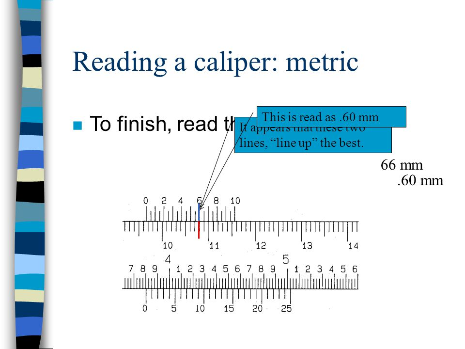 Reading a caliper: metric
