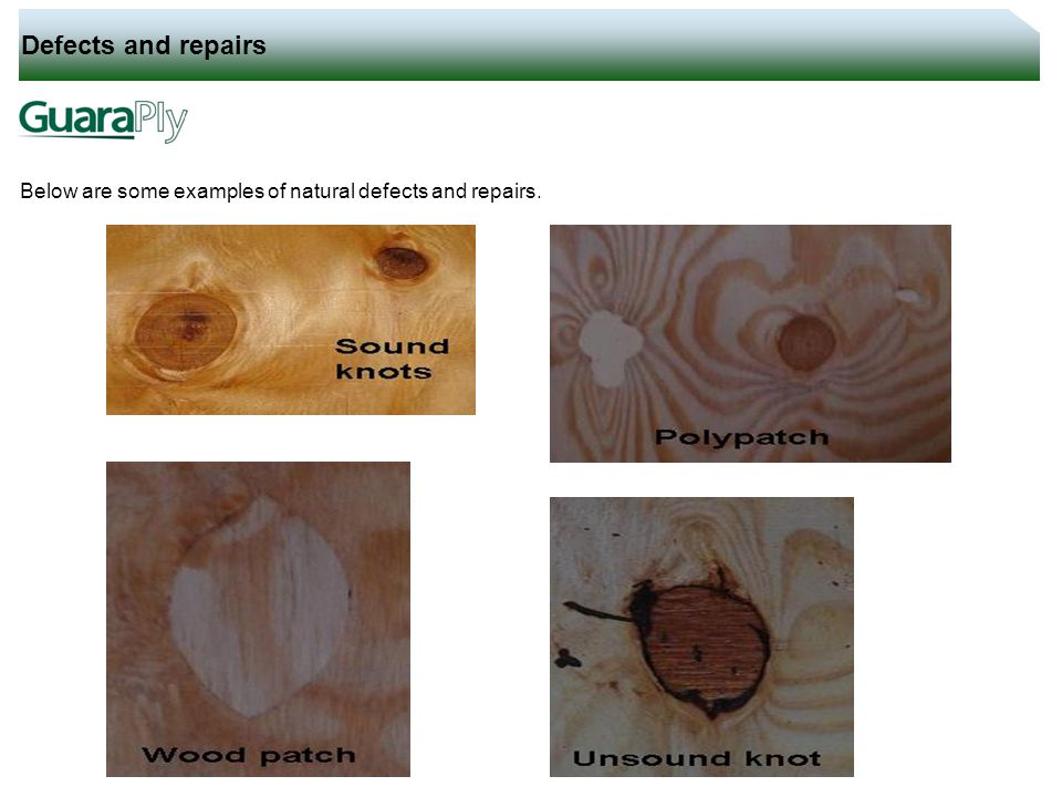 Defects and repairs Below are some examples of natural defects and repairs.