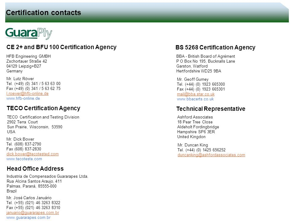 Certification contacts