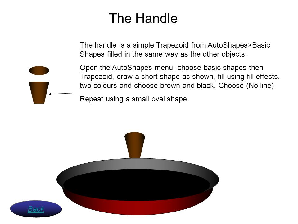 The Handle The handle is a simple Trapezoid from AutoShapes>Basic Shapes filled in the same way as the other objects.