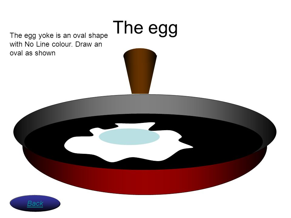 The egg The egg yoke is an oval shape with No Line colour. Draw an oval as shown Back