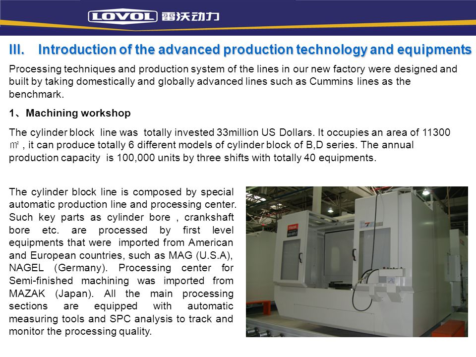 III. Introduction of the advanced production technology and equipments