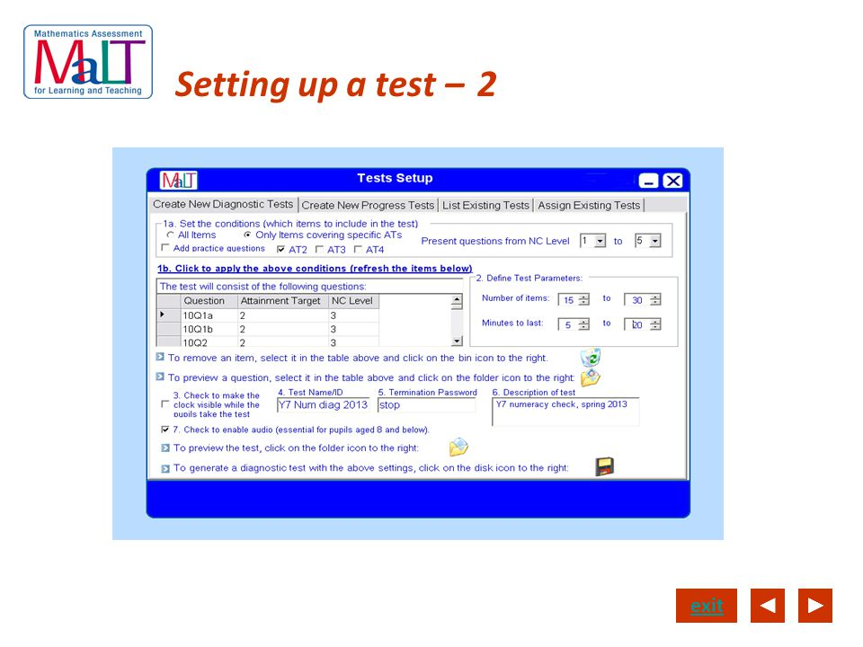 Setting up a test – 2