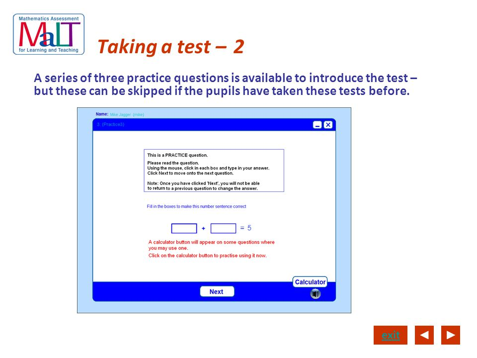 Taking a test – 2