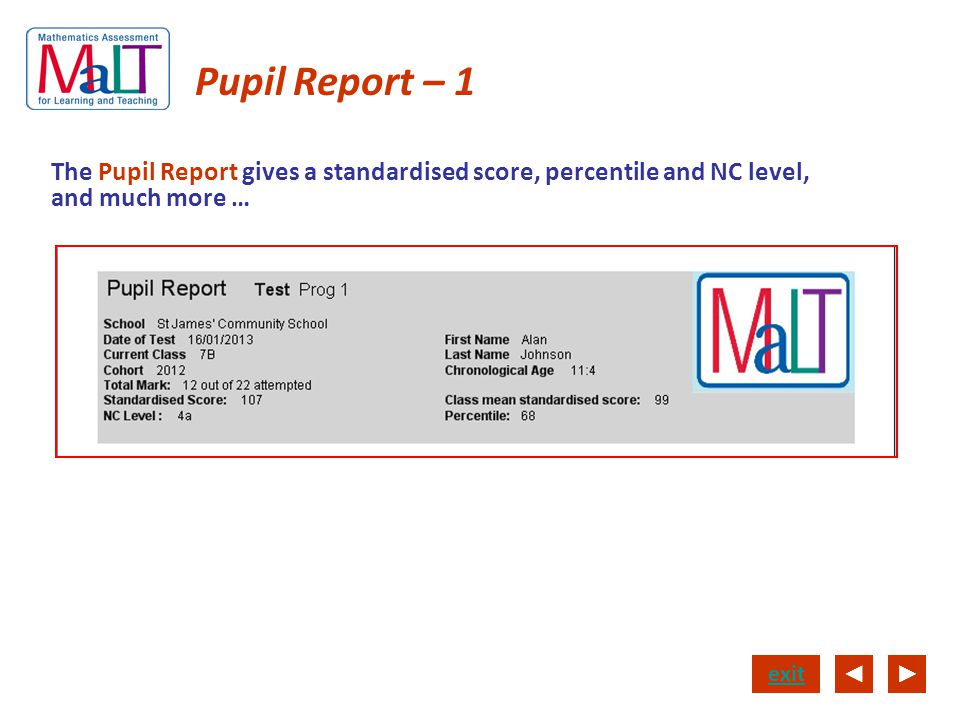 Pupil Report – 1 The Pupil Report gives a standardised score, percentile and NC level, and much more …