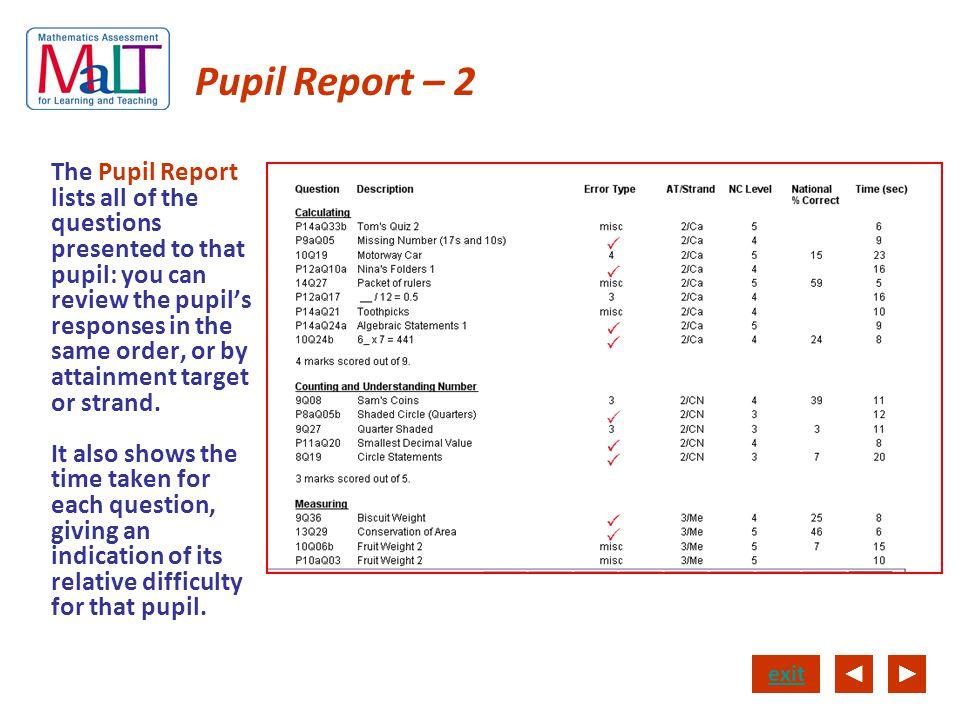 Pupil Report – 2