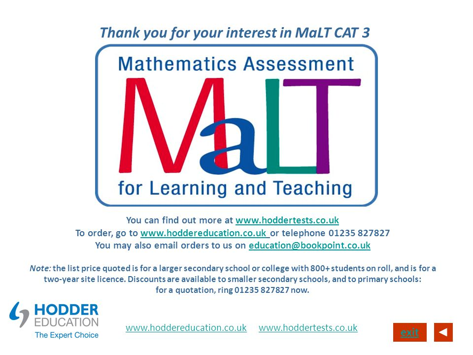 Thank you for your interest in MaLT CAT 3