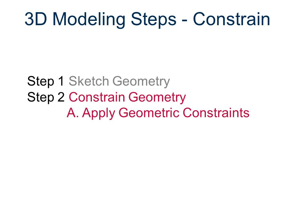 3D Modeling Steps - Constrain
