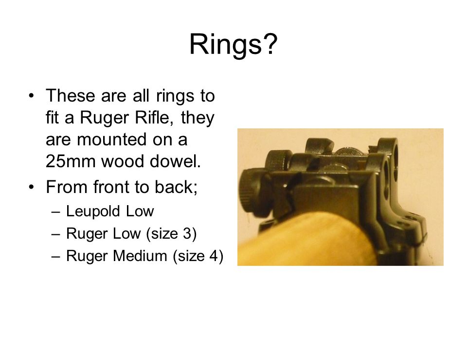 Rings These are all rings to fit a Ruger Rifle, they are mounted on a 25mm wood dowel. From front to back;