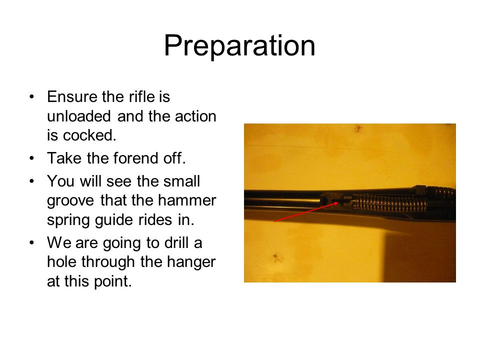 Preparation Ensure the rifle is unloaded and the action is cocked.