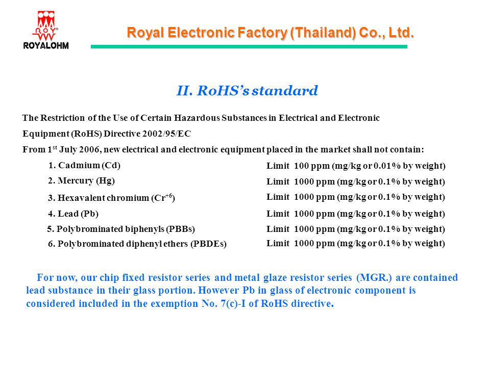II. RoHS's standard The Restriction of the Use of Certain Hazardous Substances in Electrical and Electronic.
