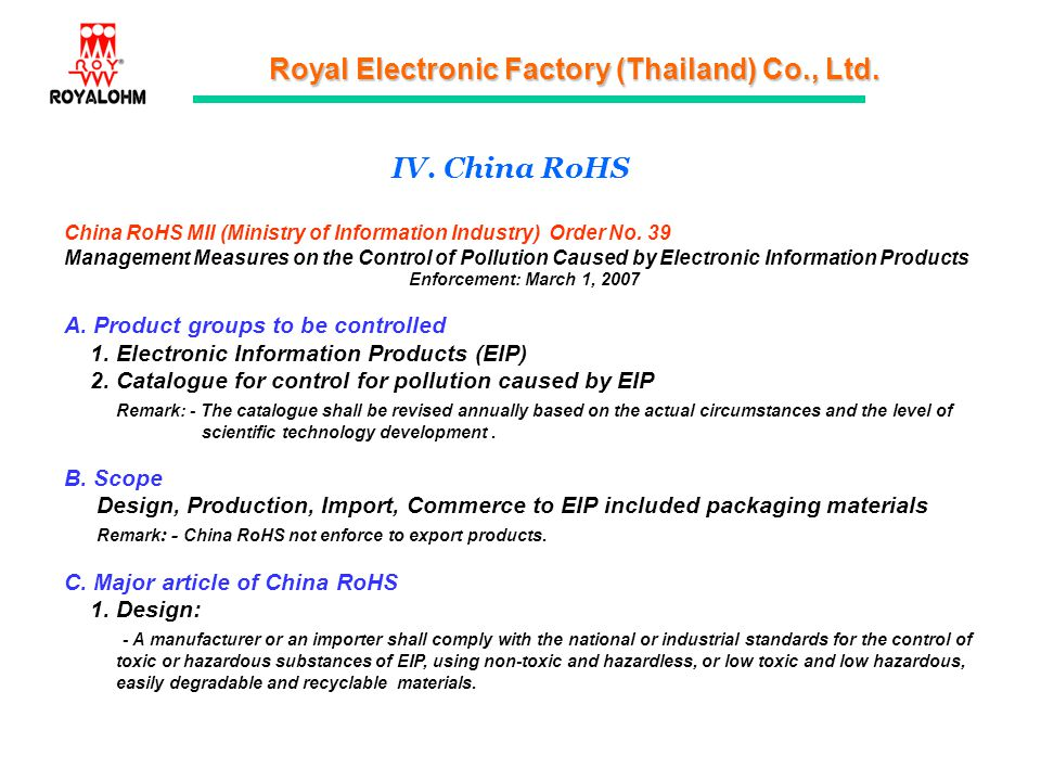 IV. China RoHS A. Product groups to be controlled