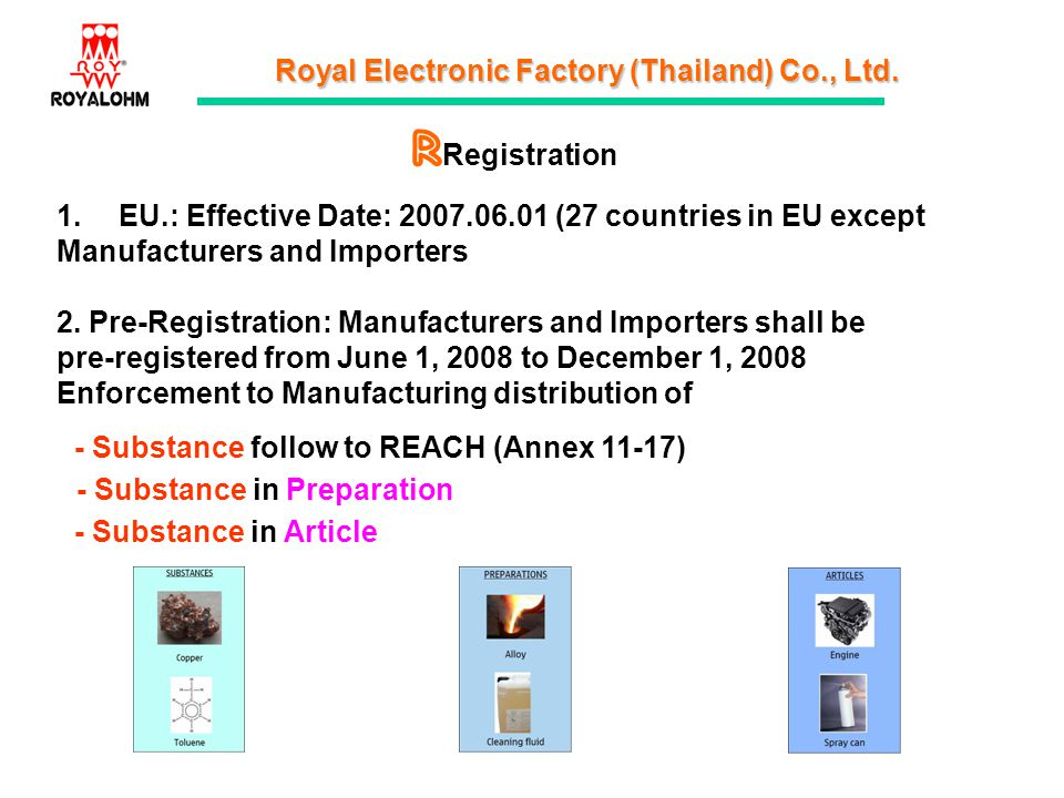 R Registration. EU.: Effective Date: 2007.06.01 (27 countries in EU except. Manufacturers and Importers.