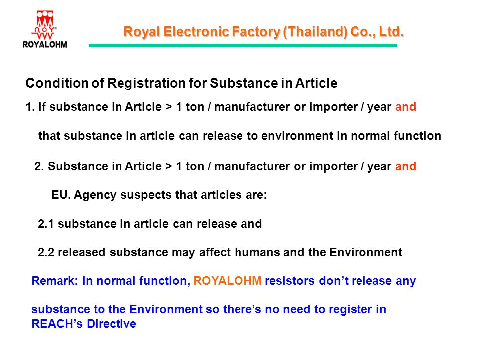 Condition of Registration for Substance in Article