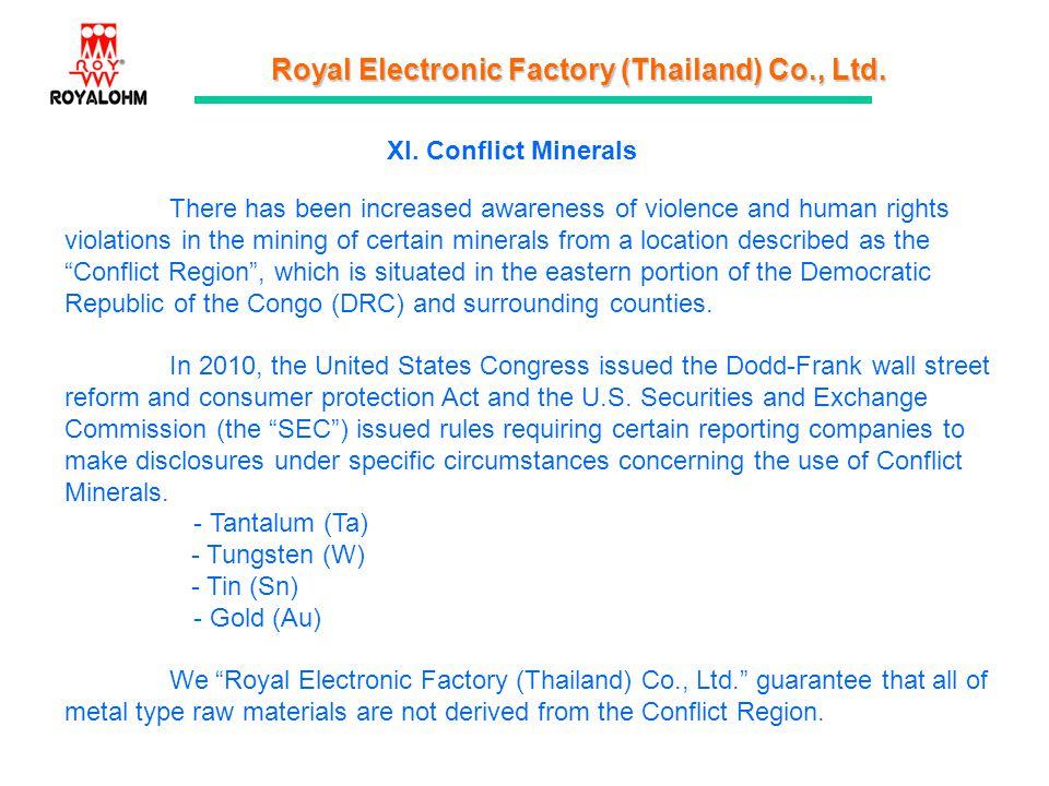 XI. Conflict Minerals