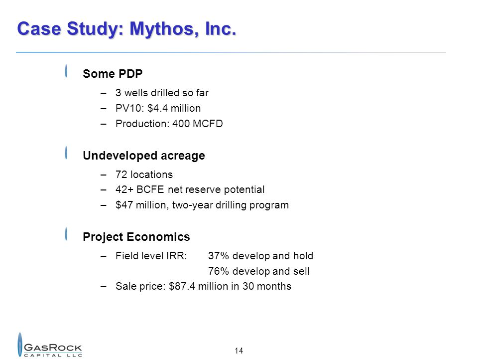 Case Study: Mythos, Inc. Some PDP Undeveloped acreage