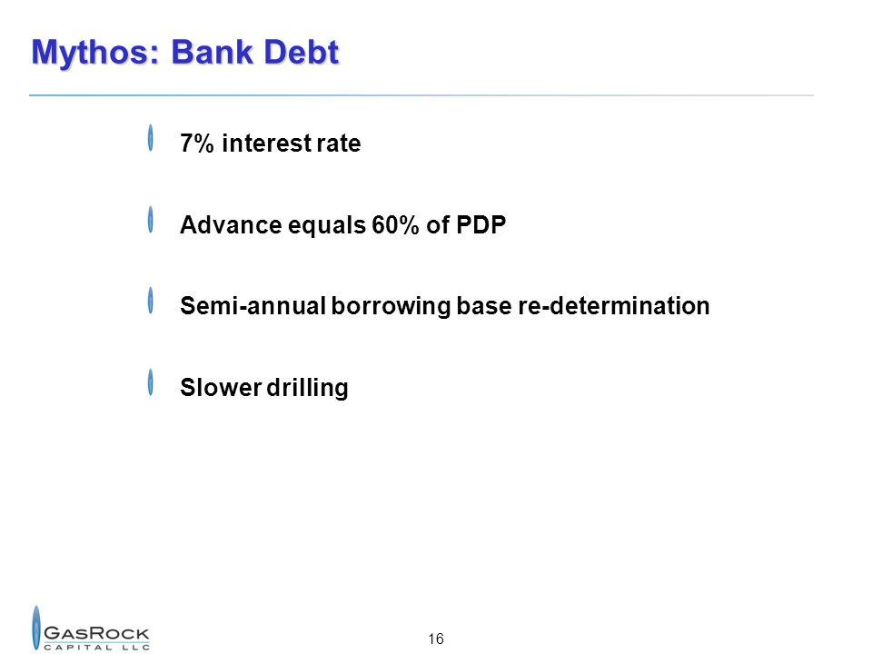 Mythos: Bank Debt 7% interest rate Advance equals 60% of PDP