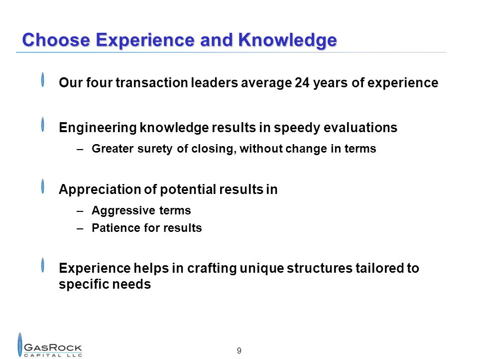 Choose Experience and Knowledge