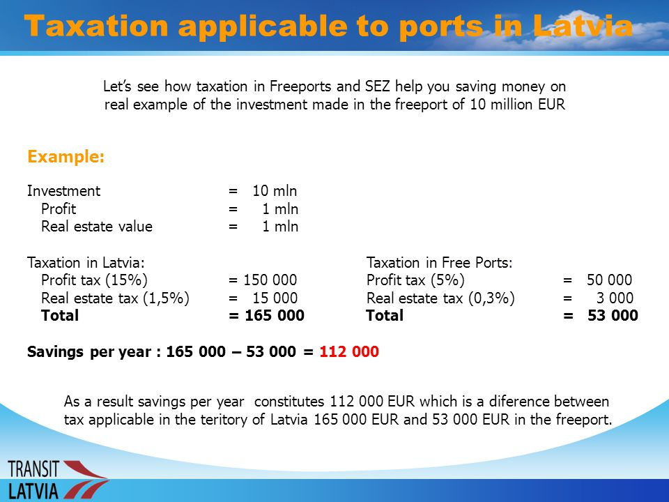 Taxation applicable to ports in Latvia