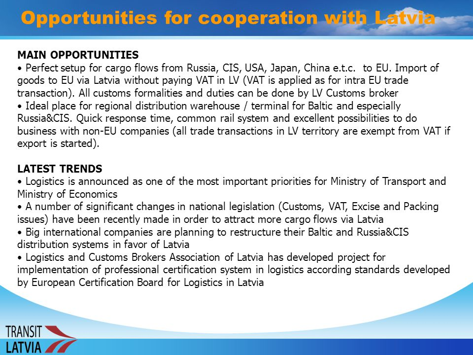 Opportunities for cooperation with Latvia