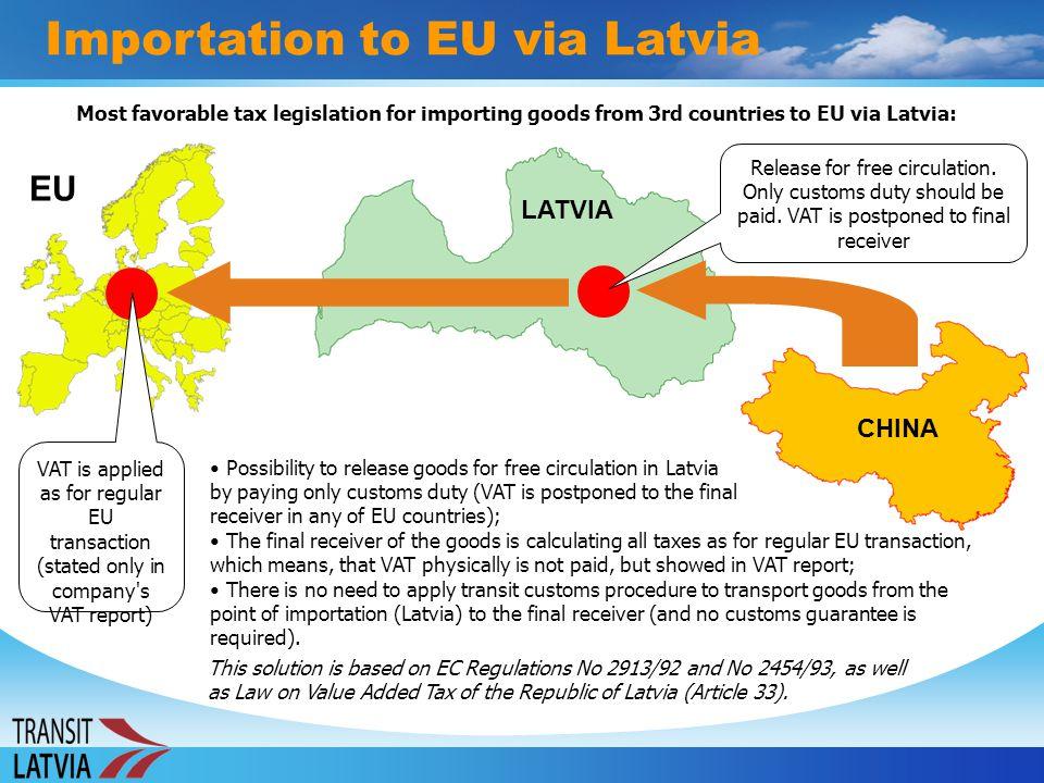 Importation to EU via Latvia