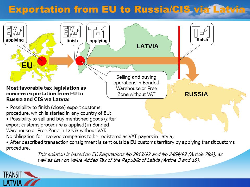 Exportation from EU to Russia/CIS via Latvia