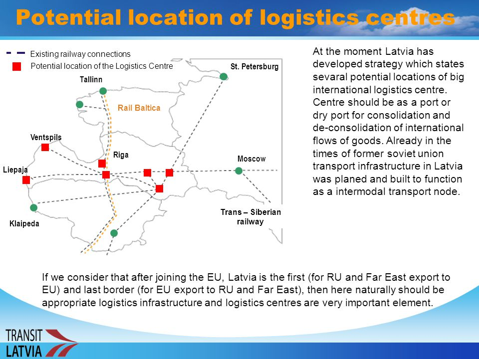 Potential location of logistics centres