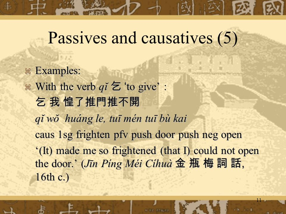 Passives and causatives (5)