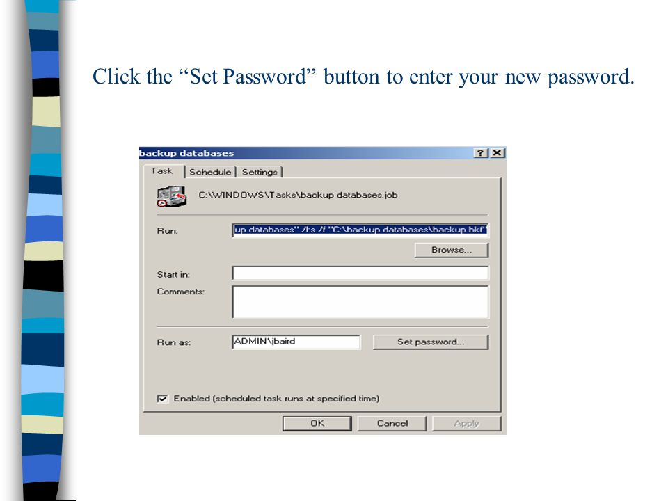 Click the Set Password button to enter your new password.