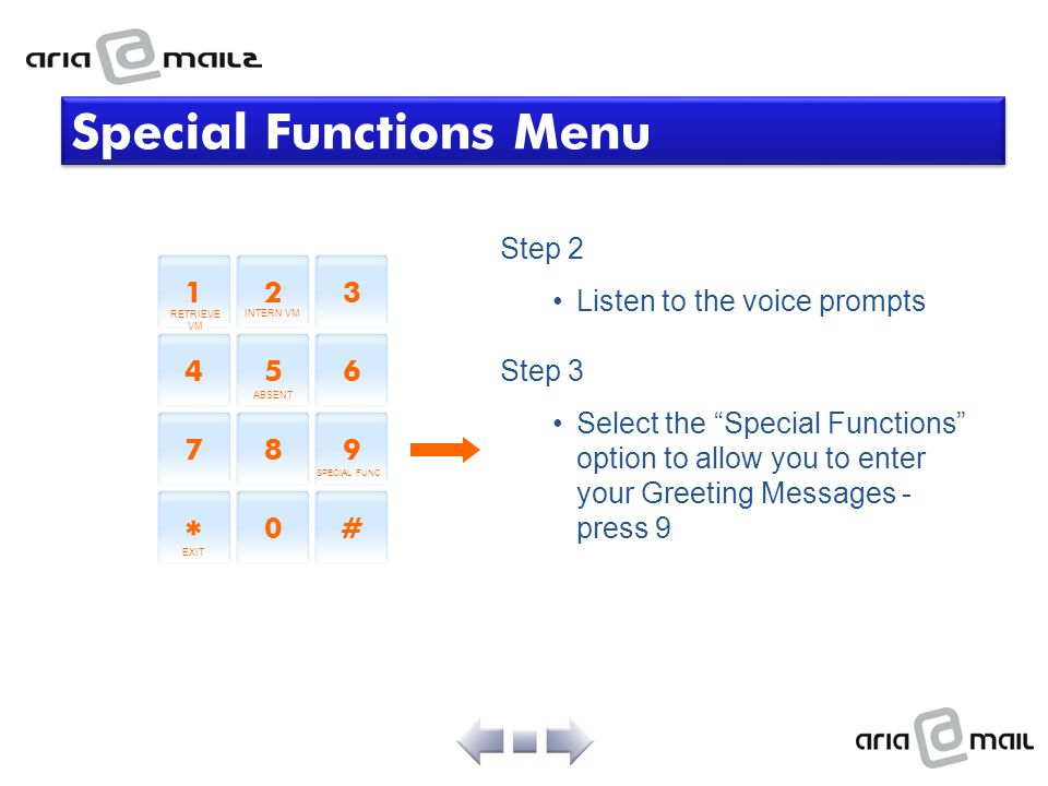 Special Functions Menu