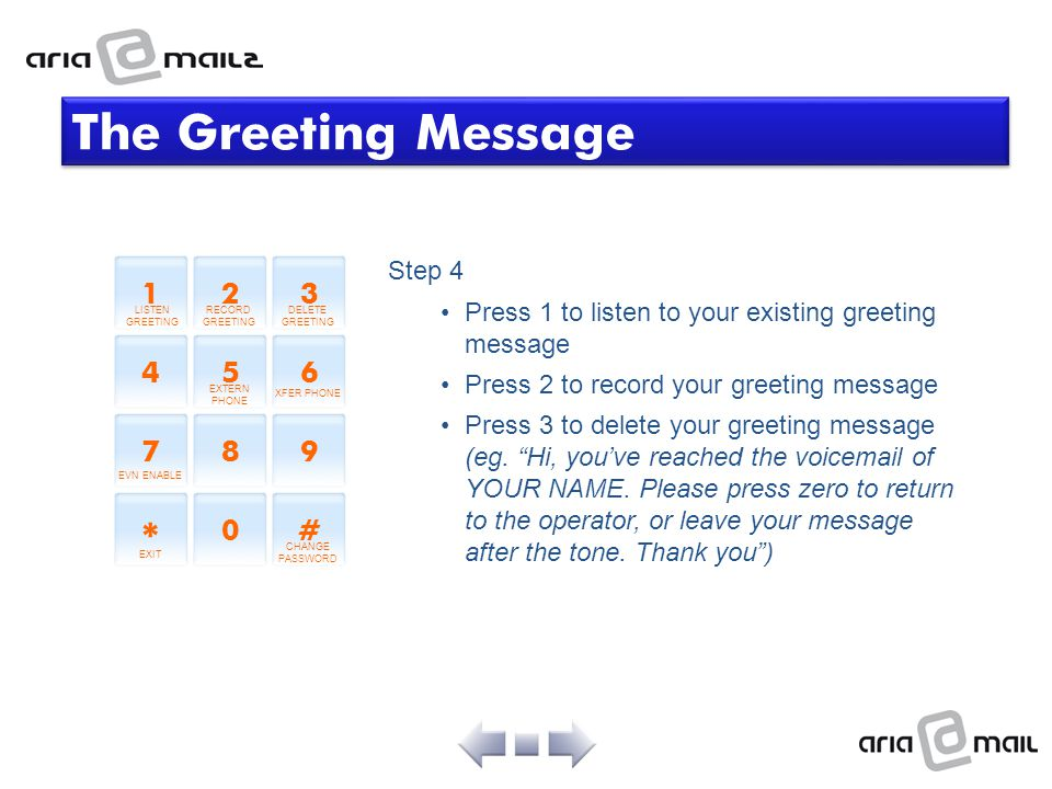 The Greeting Message * 1 2 3 4 5 6 7 8 9 # Step 4