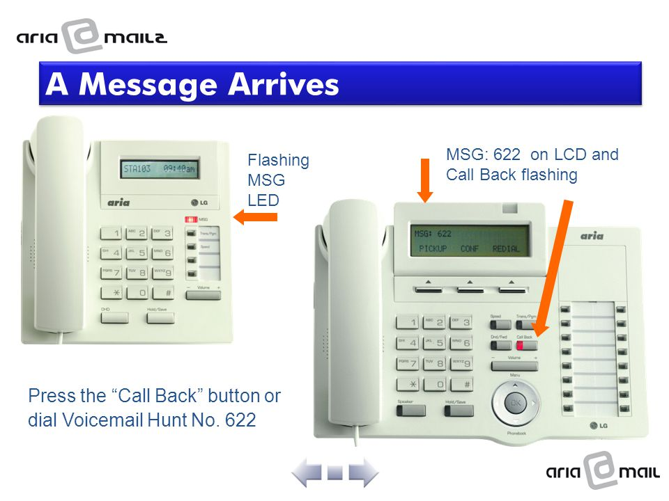 A Message Arrives MSG: 622 on LCD and Call Back flashing.