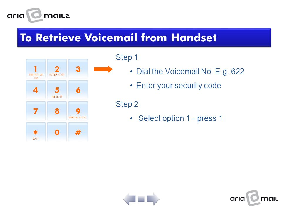To Retrieve Voicemail from Handset