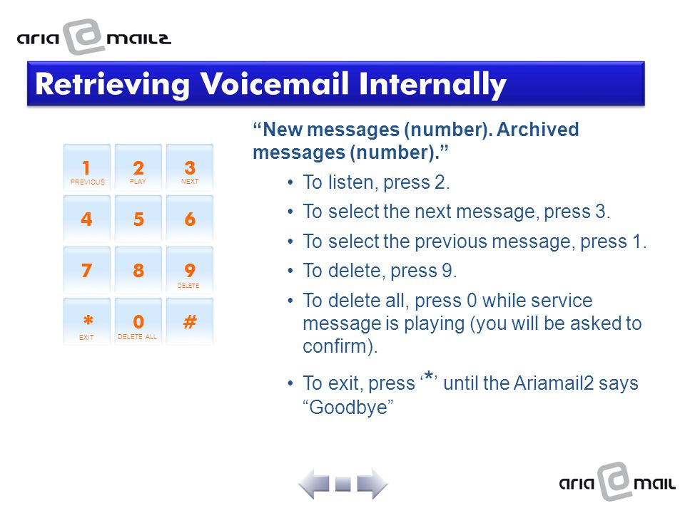 Retrieving Voicemail Internally
