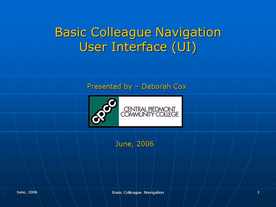 Basic Colleague Navigation User Interface (UI)