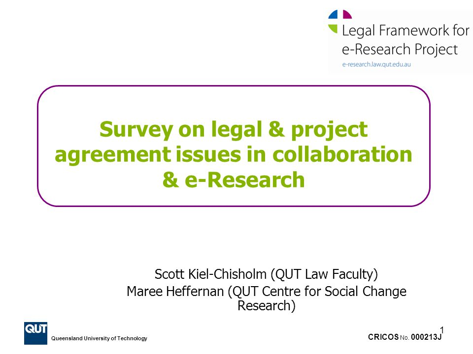 Survey on legal & project agreement issues in collaboration & e-Research