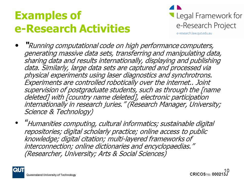 Examples of e-Research Activities