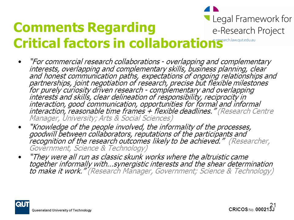 Comments Regarding Critical factors in collaborations