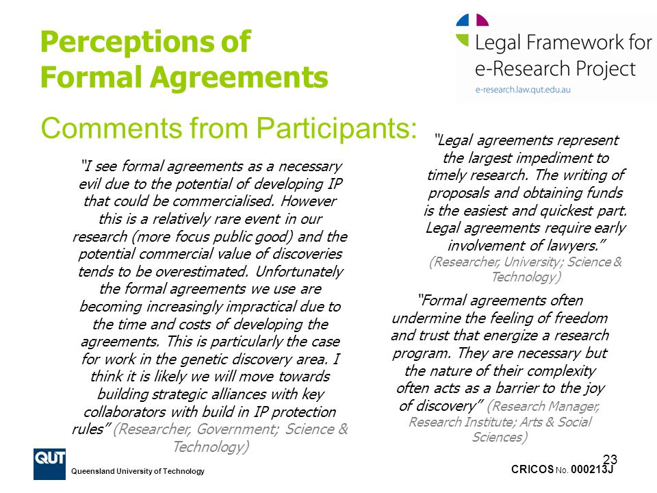 Perceptions of Formal Agreements