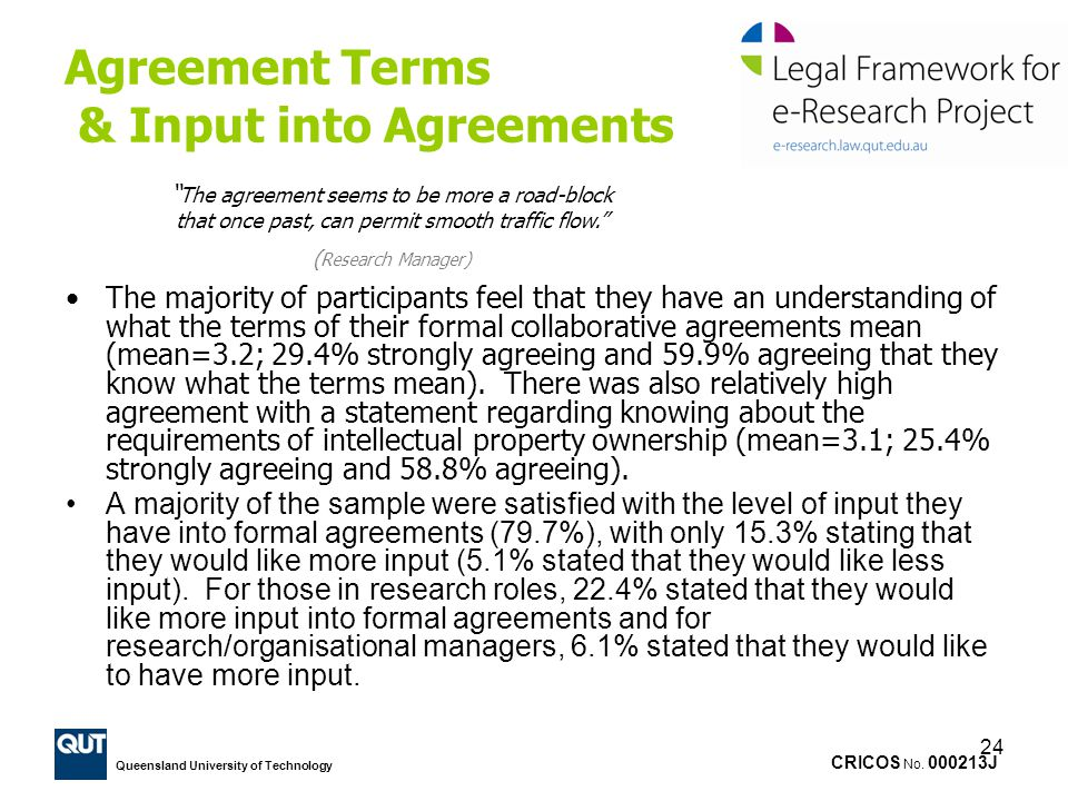 Agreement Terms & Input into Agreements