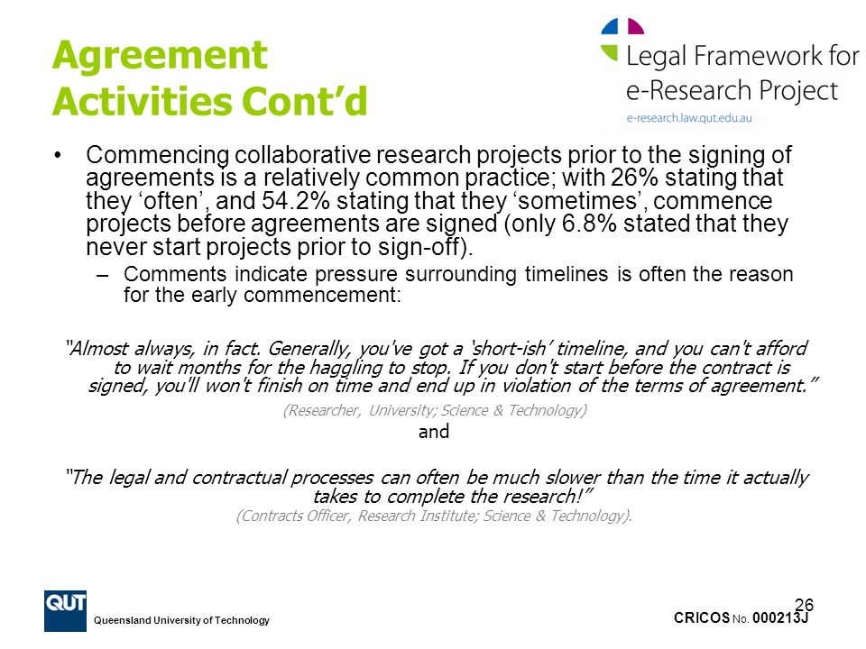 Agreement Activities Cont'd