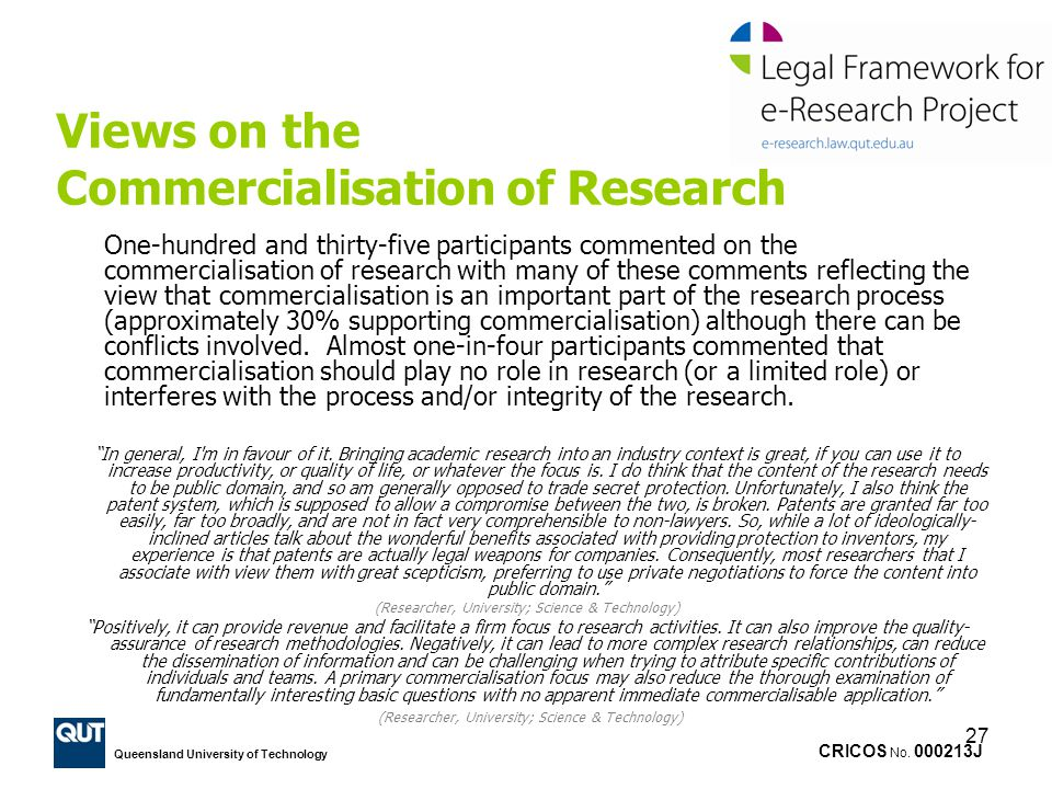 Views on the Commercialisation of Research