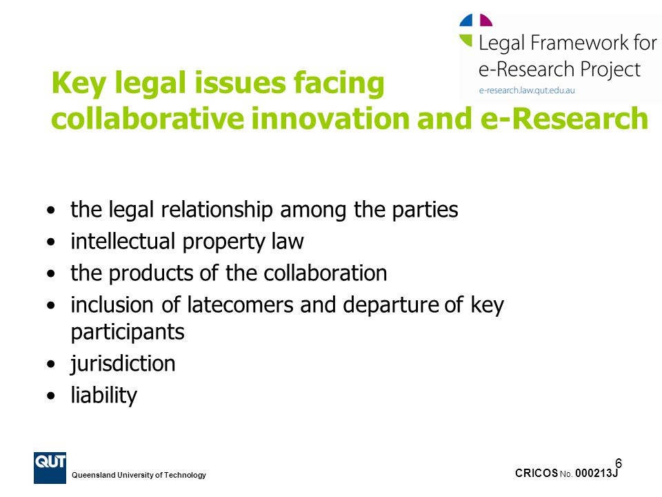 Key legal issues facing collaborative innovation and e-Research